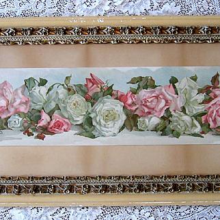 c1890 Roses Yard Long Print Annie Nowell Chromolithograph Antique Victorian Prang Fancy Rose Frame All Original