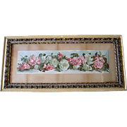 c1890 Roses Yard Long Print Annie Nowell Chromolithograph Antique Victorian Prang Fancy Rose Frame All Original