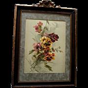 c1890s Catherine Klein Pansies Print Antique Victorian Original Frame