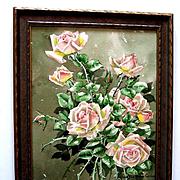 c1913 Roses Painting Signed Listed Marjorie Ransom Cummins Edwardian Antique Original Frame