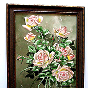 c1913 Roses Painting Signed Listed Marjorie Ransom Cummins Edwardian Antique Original Frame