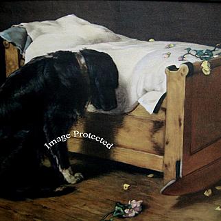 The Lost Playmate Antique Print Deceased Child Black Dog Roses Cradle