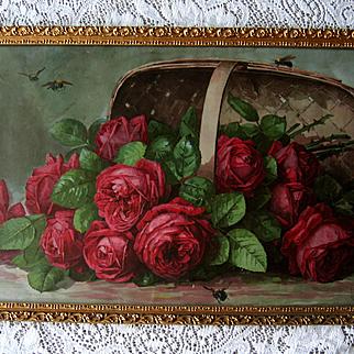Paul de Longpre Roses Print A Basket of Beauties Bees Chromolithograph Victorian Antique