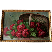 Paul de Longpre Roses Print A Basket of Beauties Bees Chromolithograph Victorian Antique