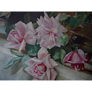 Antique Pink Roses Oil on Canvas Painting Original Frame
