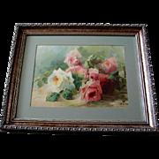 c1903 Antique Roses Print E Aulich Chromolithograph