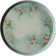 Tressemann Vogt Limoges Charger Plate Pink Roses Gold Antique Porcelain