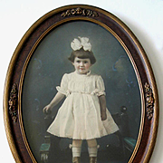 Girl High Button Shoes Hand Colored Large Photograph Barbola Frame Antique Living Doll
