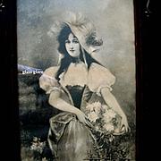 c1880 Lady Roses Print Original Fancy Antique Frame Victorian Half Yard Long Intact
