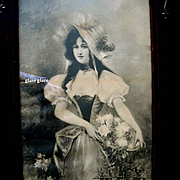 c1880 Lady Roses Print Original Fancy Antique Frame Victorian Half Yard Long Intact