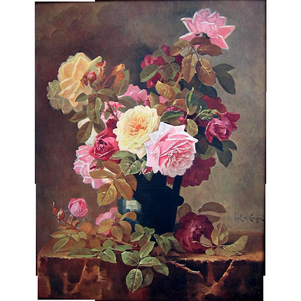 Antique Roses Print Paul de Longpre Vintage c1909