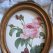 Redoute Pink Roses Print Butterfly Vintage Homco Frame