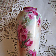 Antique c1900 Czechoslovakian Porcelain Roses Vase Signed