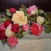 Vintage Roses Print Gold Frame
