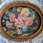 Cabbage Roses Print Whitroy Oval Ornate Barbola Frame Large Vintage