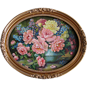Cabbage Roses Print Whitroy Oval Ornate Barbola Frame Large Vintage