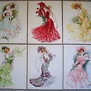 Six Lady Print s Maud Stumm New York Showgirls Fashion Hat Chromolithographs Very Fine Umbrella Dress