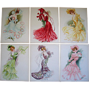 Six Lady Print s Maud Stumm New York Showgirls Fashion Hat Chromolithographs Very Fine Umbrella Dress