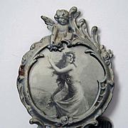 Cupid Roses Cast Iron Frame Easel Back Vintage