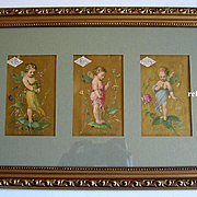 c1870 Three Fairy Lady Demorest Pattern Print s Triptych Half Yard Long Chromolithograph Gold Victorian Trade Card Fairies