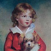 Vintage Boy with Dog Print Half Yard Long