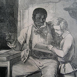 c1880 Uncle Toms Cabin Negro Black Americana Slave Print Poster Engraving Harriet Beecher Stowe Slavery Uncle Tom Learns to Write