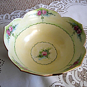 Vintage Hand Painted Bowl Pink Roses Signed