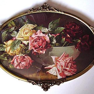Vintage Roses Print Antique Bubble Convex Glass Fancy Brass Frame Half Yard Long