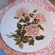 Pink Roses Charger Plate Hand Painted Paul de Longpre La France Rose