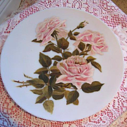 Pink Roses Charger Plate Hand Painted Paul de Longpre La France Rose
