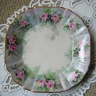 Pink Roses Plate Charger Signed Bavaria Vintage