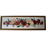 Antique Roses Yard Long Print Wells Chromolithograph c1895
