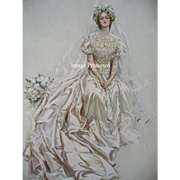 c1909 Victorian Bride Lady Print Harrison Fisher Bridal Bouquet Roses