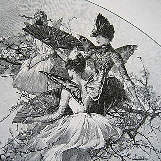c1888 Antique Victorian Lady Cupid Fairy Butterfly Doll Engraving Print Victorian