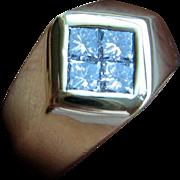 Diamond Gold Mens Ring Princess Cut Fathers Day 18kt 19gram