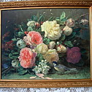 Vintage Roses Print Fragrance in Bloom Jean Baptiste Robie Barbola Frame Roses Bee Bird