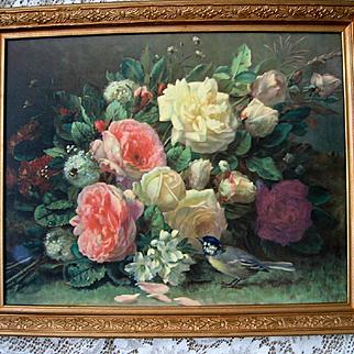 Vintage Roses Print Fragrance in Bloom Jean Baptiste Robie Barbola Frame Roses Bee Bird
