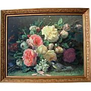 Vintage Rose Print Fragrance in Bloom Jean Baptiste Robie Roses Bird Bee Original Frame