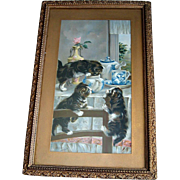 Antique Cat Kitten Print Early Breakfast C L Van Vredenburgh Half Yard Long Victorian Animal