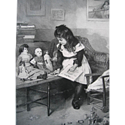Antique Doll and Girl Print Teaching A Johnson