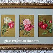Paul de Longpre Antique 3 Rose Print Triptych