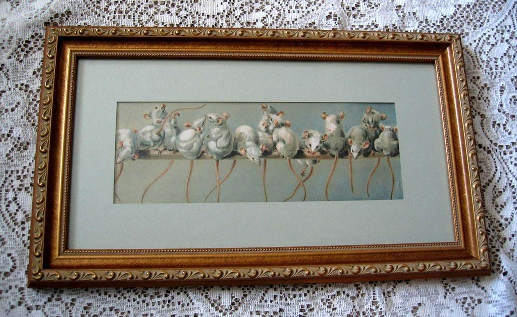 c1890s A Foot of Mice Print Giacomelli Half Yard Long Antique Victorian Chromolithograph