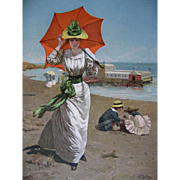 c1890 Lady Beach Print Umbrella Parasol Pier Cipolla
