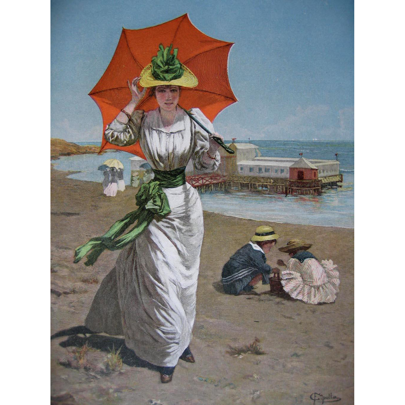 c1890 Lady Beach Print Umbrella Parasol Pier Cipolla