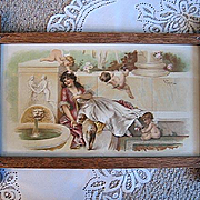 Antique Lady Cupid Love Print V Tojetti Victorian Chromolithograph Half Yard Long