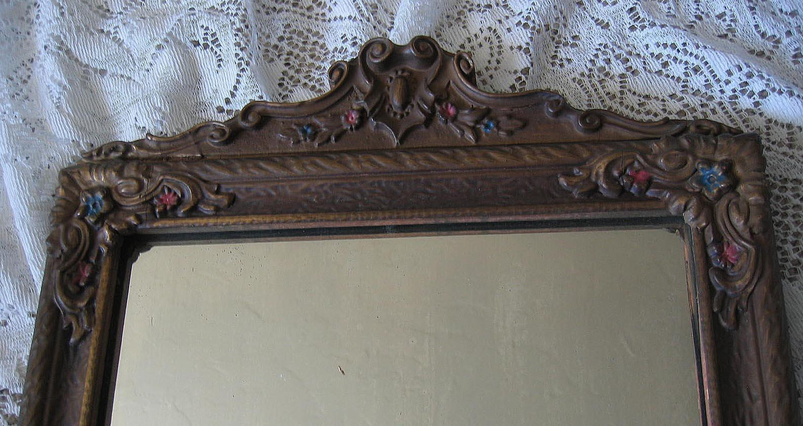 Antique Barbola Mirror Intact Heavy Gesso Embellishment