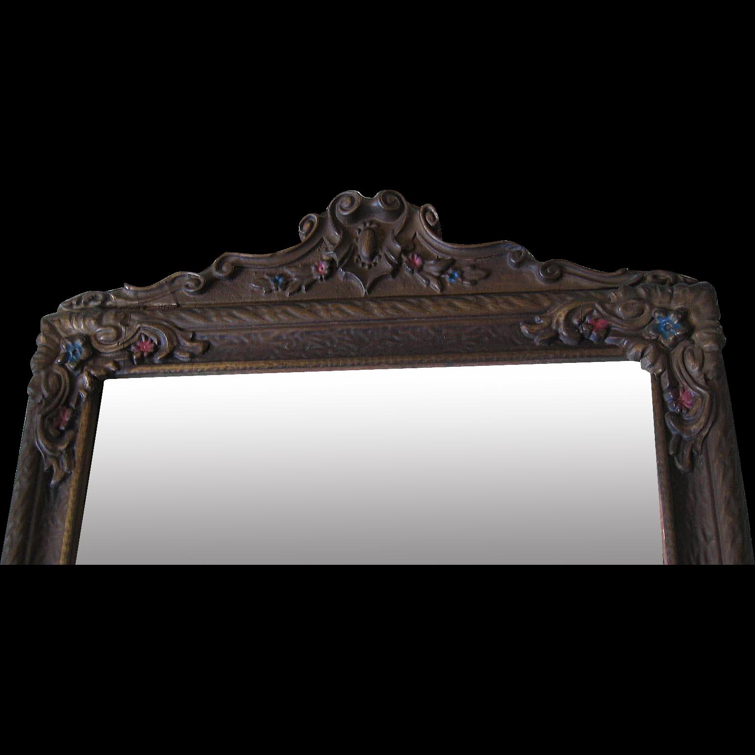 Antique Barbola Mirror Intact Heavy Gesso Embellishment