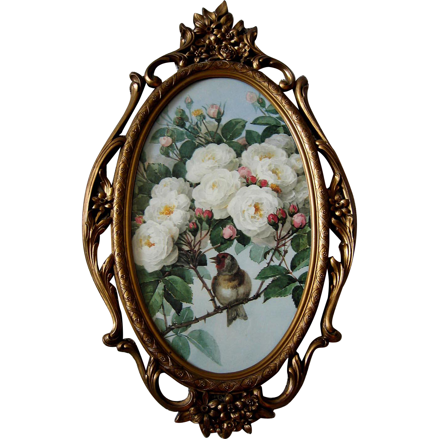 Paul de Longpre White Bride Roses Bird Print Fancy Homco Syroco Frame Yard Long