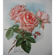 Paul de Longpre Pink Roses Print Fine Condition Lithograph