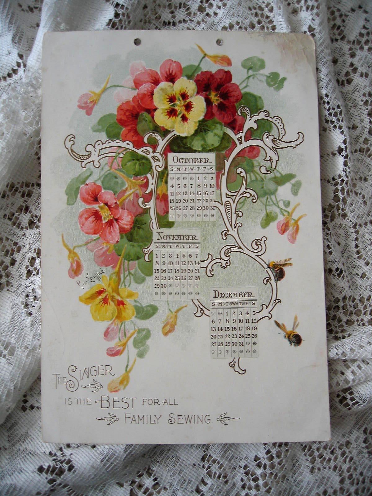 c1894 Paul de Longpre Singer Sewing Calendar Print Nasturtiums Bees Gold Chromolithograph Signed